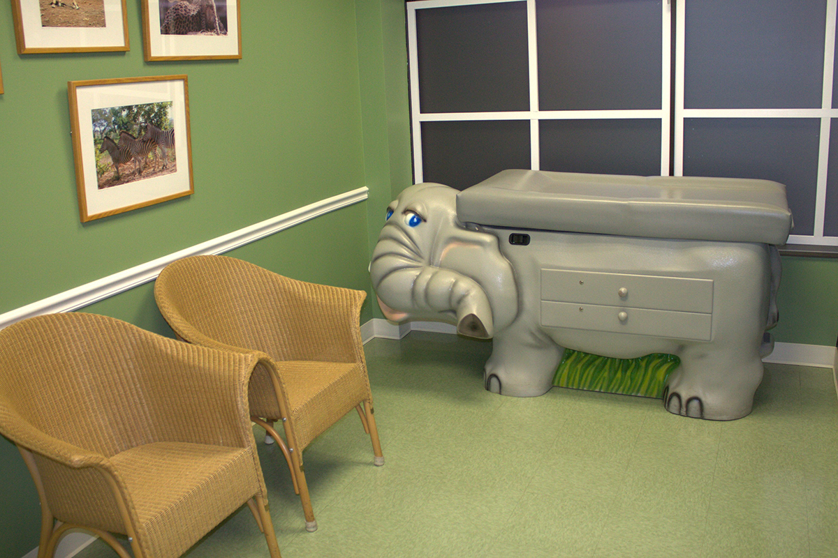 Zoo exam room at Hirsh Pediatrics in Rockville Maryland