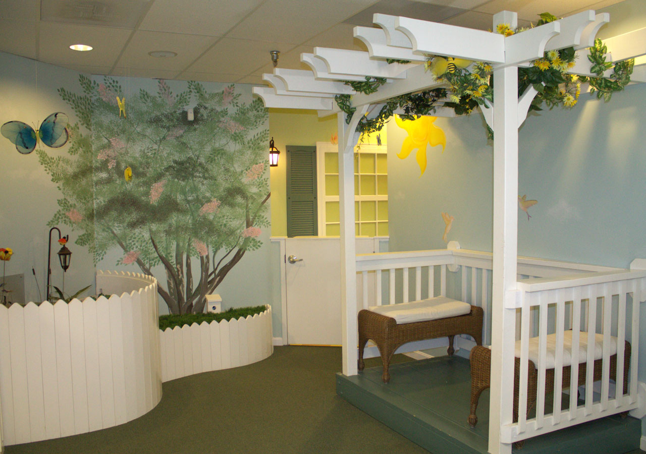 Fun front office garden at Hirsh Pediatrics in Rockville, Maryland